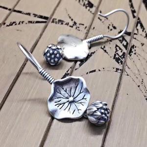Image 3 - BALMORA gerçek 925 ayar gümüş Lotus çiçek bırak Dangle küpe kadınlar için anne hediye Vintage zarif moda takı