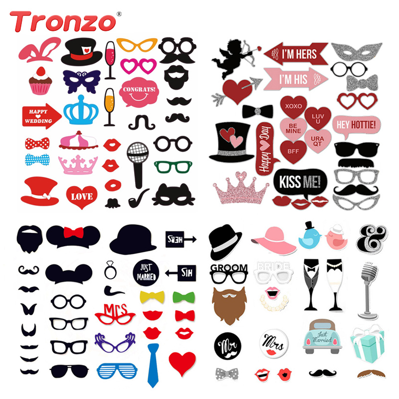 Tronzo Matrimonio Decorazione fai da te Photo Booth Puntelli Divertenti Occhiali Baffi Photobooth Puntelli di compleanno Accessori per unghie Unicorno 36Pcs