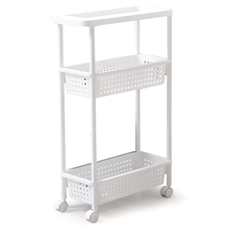 ABLA Space Kitchen Storage Rack Shelf Slim Slide Tower Movable Assemble Thickened Plastic Bathroom Shelf Wheels Space Saving O(China)