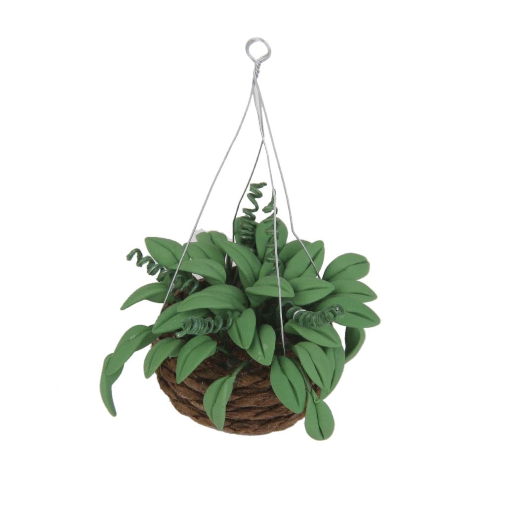 1/12 Scale Dollhouse Miniature Green Hanging Plant Rattan Basket Dolls House Garden Accessory
