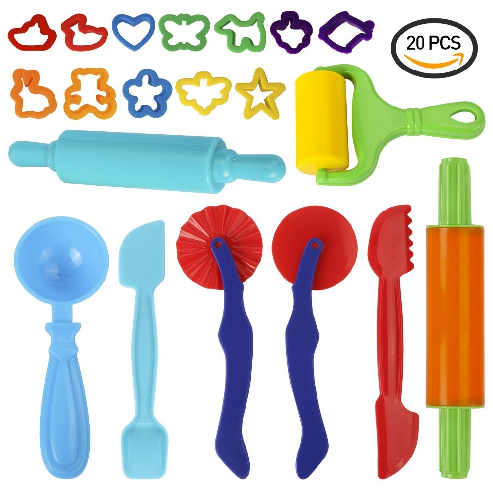 Dough Tools Set, 20-Piece Assortment Large-size Colorful Clay Tools Kit With Roller, Rolling Pin, Cutter And Mold, For Kids