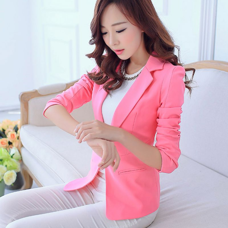 Women Blazers And Jackets Suit Spring Autumn 2016 Fashion Single Button Blaser Female White/Black/Pink/Blue Ladies Blazer Femme
