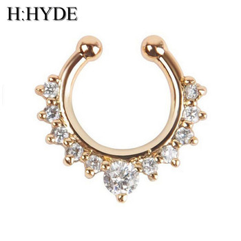 H:HYDE Top quality hot sale fake septum crystal clicker Fake nose Ring Piercing faux Body jewelry Hoop For Women Septum Clip non