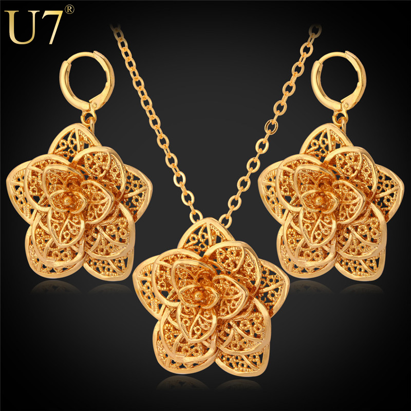 U7 Big Flower Necklace Set Gold Color Exquisite Pendant Necklace And Earrings Party Jewelry Set For Women Trendy S562