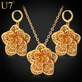 U7 Flower Necklace Set Yellow Gold Plated Trendy Exquisite Party Necklace Earrings Jewelry Set For Women S562