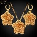 U7 conjunto colar de flores amarelo banhado a ouro na moda requintado colar brincos conjunto de jóias para as mulheres do partido s562