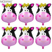 NICEXMAS 6pcs Cute Large Animal Cow Head Aluminum Foil Balloons Creative Birthday Party Decoration Supplies(China)