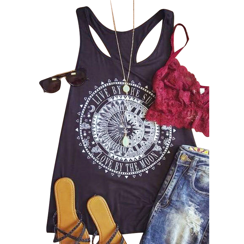 Summer Tank Tops Live By The Sun Love By The Moon Printed Punk Rock Graphic Tees Women Sleeveless Loose Casual T-Shirt