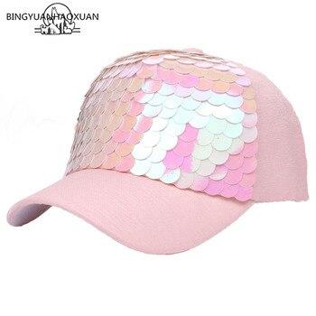 9269e7ebac798 BINGYUANHAOXUAN 2018 brillo negro gorra de béisbol mujeres Bling papá  sombrero Snapback Hockey sombreros Gorras Cap