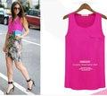 2016 New Fashion Lady Candy Color Chiffon Tank Blouse One Pocket Tops Women Black Blue Yellow Pink White Drop Shipping Hot
