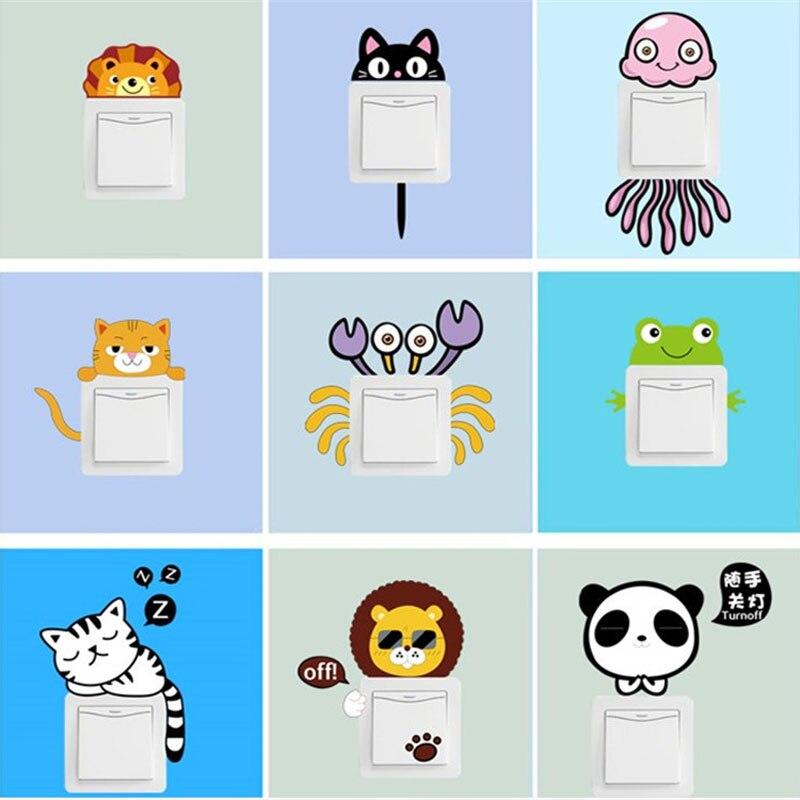 11 un conjunto Múltiple Creativo de pequeños animales etiqueta interruptor salón