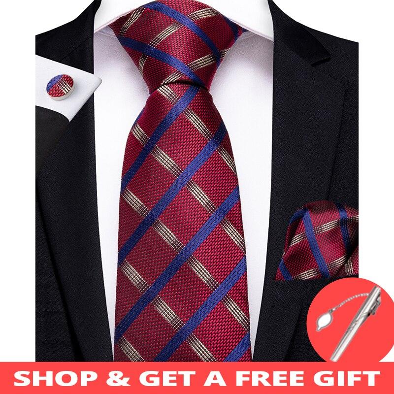 DiBanGu New Red Blue Striped Men's Tie Clip 100% Silk Tie For Men Hanky Cufflinks Tie Wedding Party Business Tie Set MJ-7170