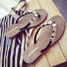 COOTELILI 35-41 Plus Size Fashion Floral Metal Beach Shoes Women Summer Slippers Summer Flip Flops Flat Shoes For Ladies