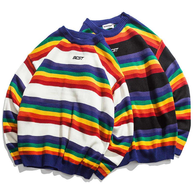 Suéter Aolamegs para hombre, jersey de Color a rayas arcoíris, suelto, alto, para la calle, Jersey de punto para hombre, ropa de calle