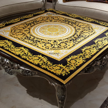 Luxury Tablecloth Blue European Royal Style Golden Table Cloth Thicken Velvet Fabric Table Cover Squre 145cm