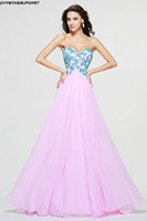 Amazing Lace Top Evening Gowns Sweetheart Pink with Blue Appliques Plue Size Evening Dresses 2017