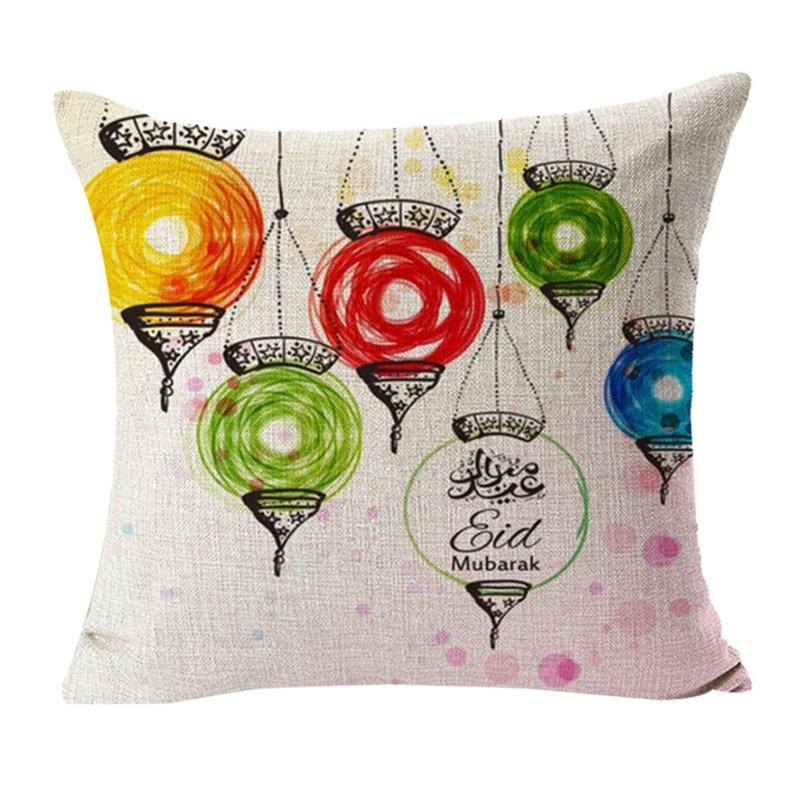 Image 4 - Ramadan Festival Linen Pillowcase Comfortable Sofa Cushion Set Home Decoration Cover Home Party Hotel Textile 45cm*45cm Hot 2019-in Cushion Cover from Home & Garden