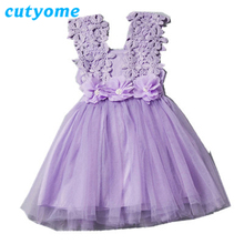 Brand New Toddler Flower Girls Lace Dresses for Party and Wedding Fashion Kids Floral Princess Tutu Dress Infants Summer Clothes
