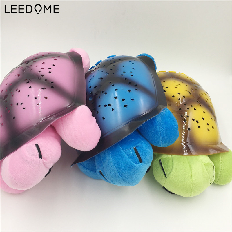 Leedome USB AA Battery Powered LED Night Light Starry Sky Projector Lamp Novelty Turtle Shape Lighting For Baby Sleeping Lampada