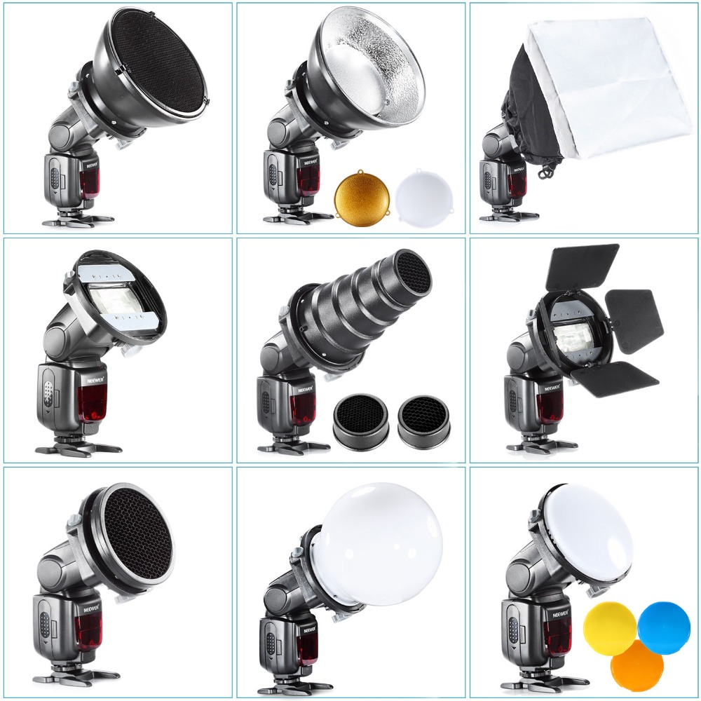 SGA-K9 Flash Diffuser Adapter Kit Accessories Barndoor/Snoot/Softbox/Honeycomb Universal Mount CA-SGU Speedlite For Canon Nikon