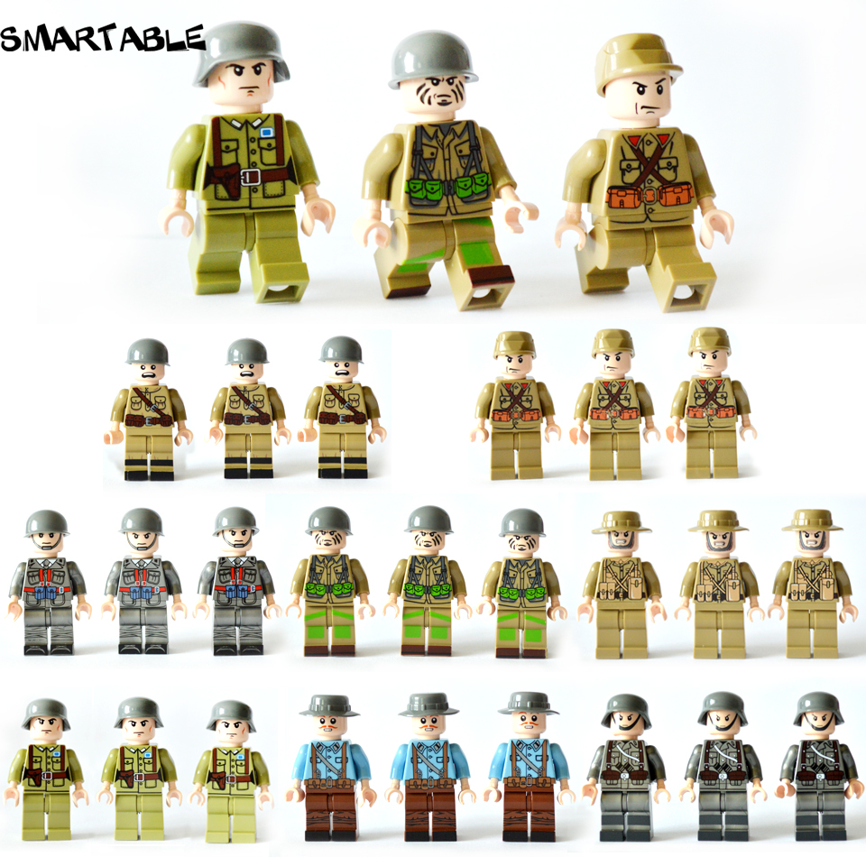 Smartable 24pcs/set Building Blocks Figures brick toys Compatible Legoing Figures weapon military soldier for Christmas Gift 8 in 1 military ship building blocks toys for boys