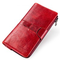 Yaphlee luxury Leather Wallet Head Layer Cowhide Women's Button Handbag Card pocket change Wallet