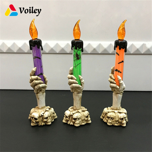 Horror Skeleton Handheld Bats Led Candle Light Decoration High Quality Bars Haunted House Skeletons Photo Props Gift 9