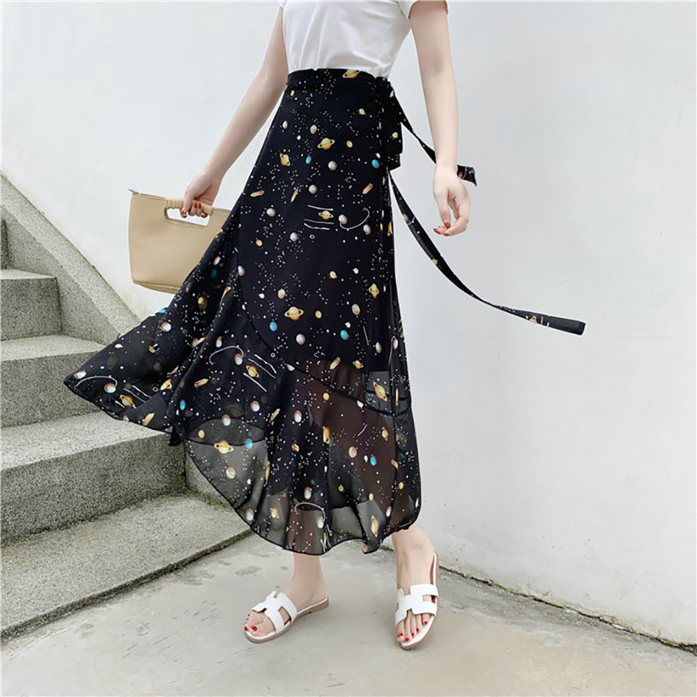 Women's Bohemian Beach Chiffon Skirt Fashion Bow Print Floral Skirts Femme Summer Lace Up Skirt Ruffles Irregular Skirts 2019