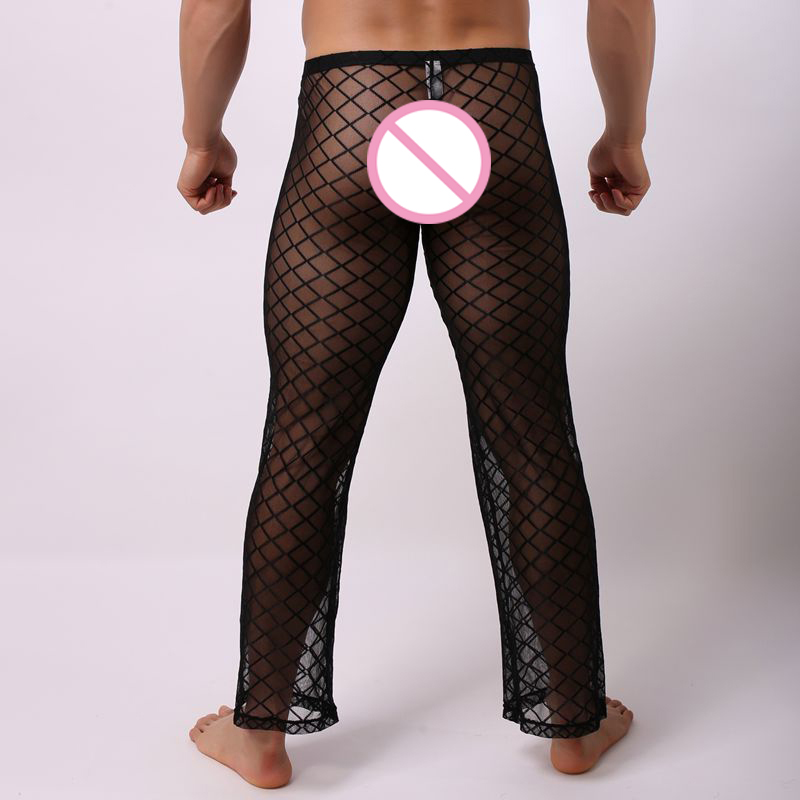 Sexy Mens Mesh Transparent Long Pants Thin Pajamas Trousers Grid Singlet Fishnet Sheer Pants Breathable Stage Male Sleep Bottoms