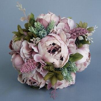 Europe Style Handmade Wedding Bouquet Silk Rose Artificial Flowers Bride Holding Flower Bridesmaid Bride Bouquet For Wedding