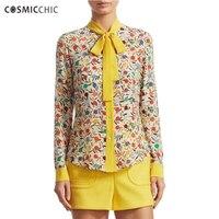 Cosmicchic Для женщин печати с длинным рукавом 100% Блузы с шелковым бантом Рубашка с воротником мода взлетно посадочной полосы Повседневное элег