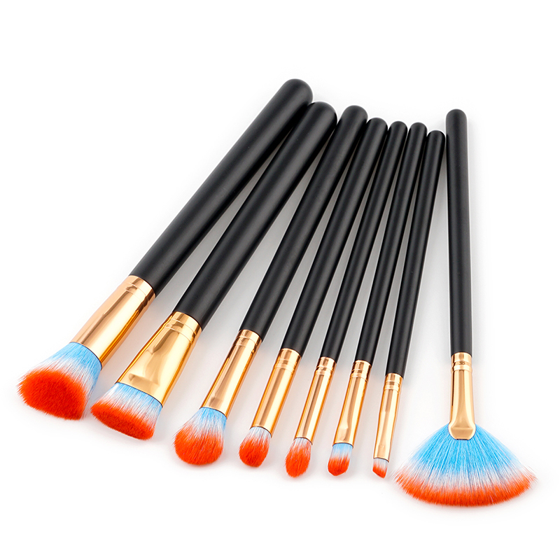 Maquiagem 8 pcs Makeup Brush Retro Black  Synthetic Hair Professional Soft Cosmetic eyeshadow Set Tool Kit noble makeup brushes professional eyeshadow brush makeup kit designer cosmetic eye makeup tools with luxury case synthetic