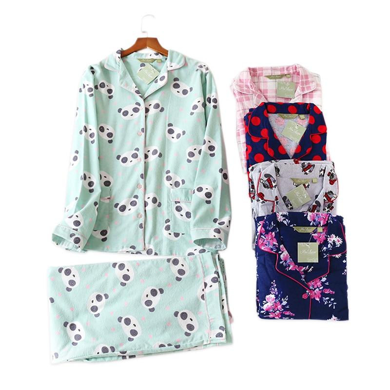 plus size cute panda   pajamas     sets   women 100% brushed cotton winter warm casual long-sleeve women homewear indoor plus size