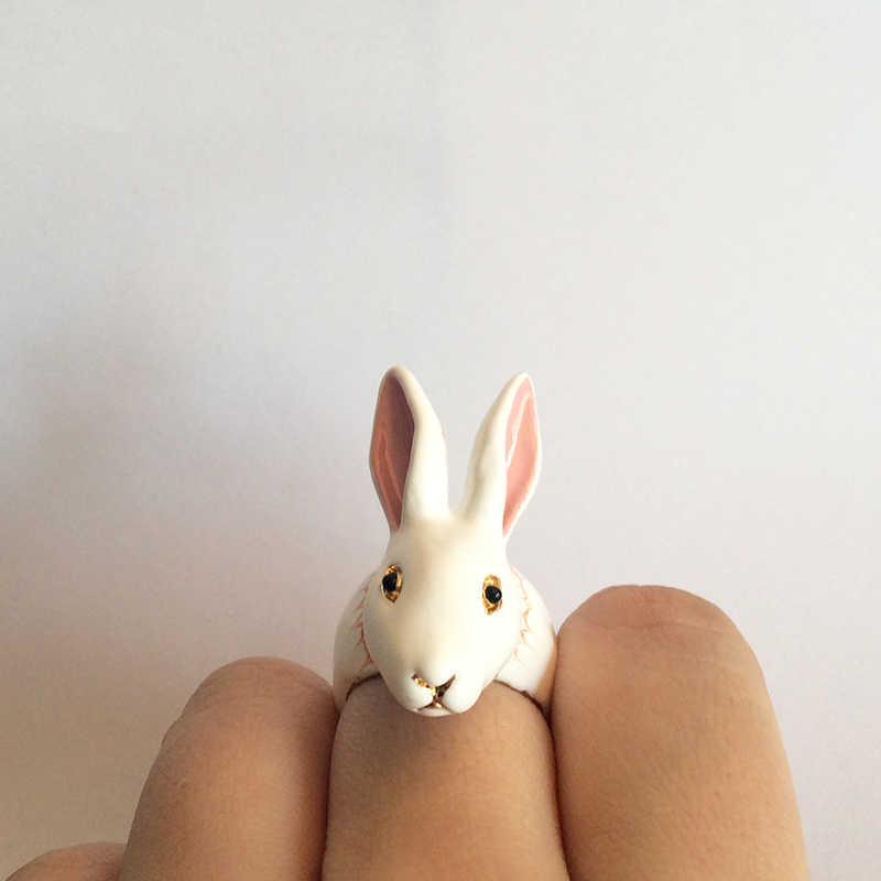 Juicy Grape Original สัตว์แหวนมือทาสีเคลือบเคลือบ Gilded สีขาวแหวนกระต่ายสัตว์อะนิเมะแหวนแฟชั่นเครื่องประดับ