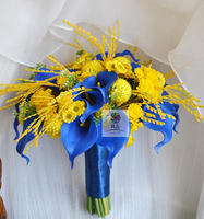 結婚式のブーケ結婚式の花花花嫁介添人花束人工puカーラリリー装飾花ゴールデンフルーツ