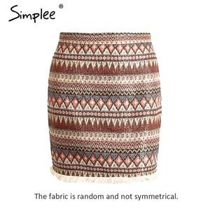 Image 4 - Simplee Vintage spódnica ołówkowa kobiety dół boho chic frędzle etniczna mini spódnica letnia plaża kobiet wysokiej talii krótka spódniczka kobiet