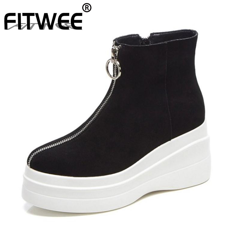 FITWEE Women Real Leather Ankle Boots Plush Fur Warm Winter Shoes For Women Fashion Zipper Platform