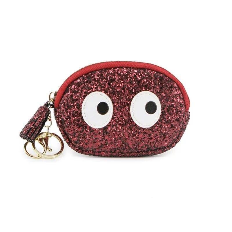 2018 fashion design big eyes cartoons purse wallets small cute cartoon kawaii card holder key chain money bags for girls