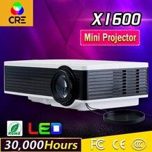 Tamaño de papel A4 de resolución WVGA 300,000 horas vida de la lámpara tiempo hd smart mini proyector CRE x1600