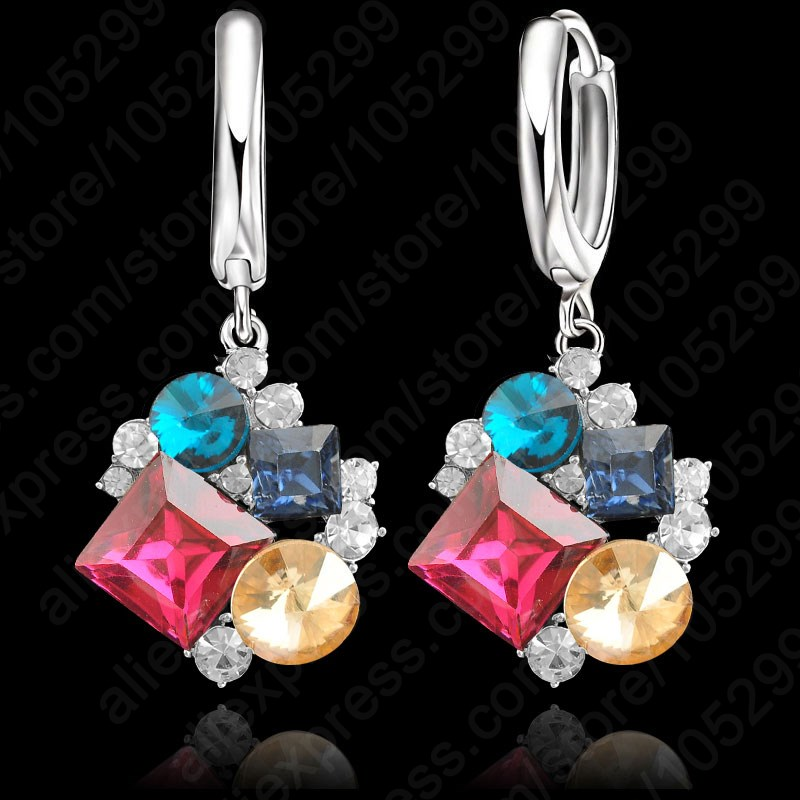 JEXXI Free Shipping High Quality AAA Crystal Real Pure <font><b>Solid</b></font> 925 <font><b>Sterling</b></font> <font><b>Silver</b></font> Loop Lever <font><b>Back</b></font> Earring For Woman Girl Gift