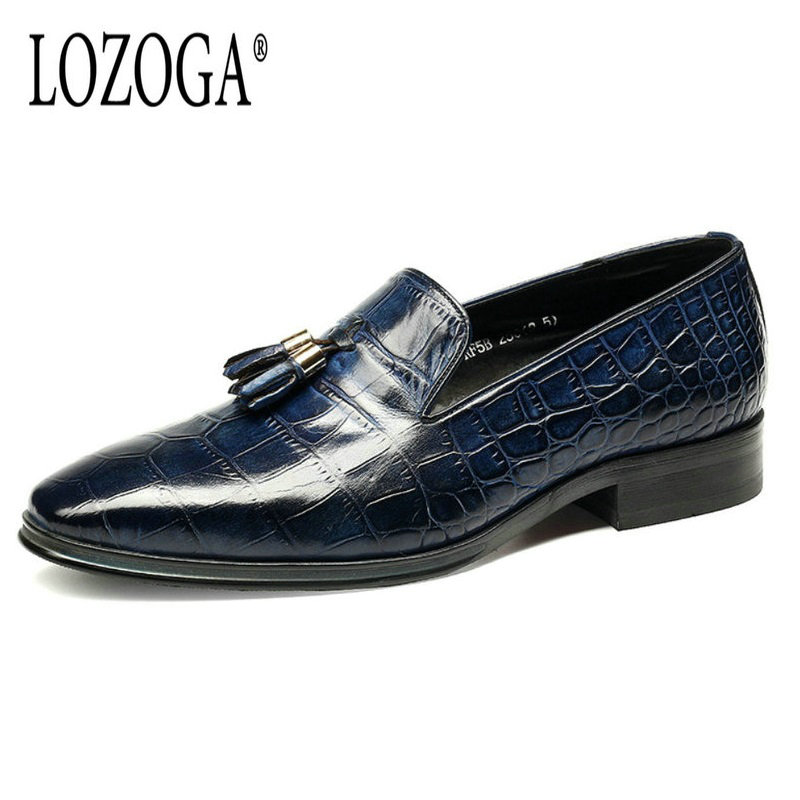 2017 Mens Dress Shoes Italian Genuine Leather European Size Shoes Loafers Luxury Handmade Tassel Shoes Pointed Toe Slip-On Shoes leisure footwear new 2016 suede european style leather buckle shoes mens luxury brand pointed toe italian dress shoes for men