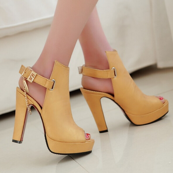 Sale Promotion Novelty Shoes Women Pumps Spring Peep Toe Gladiator Chunky  High Heels Platform Female Chains Sequined Yellow d278920c27
