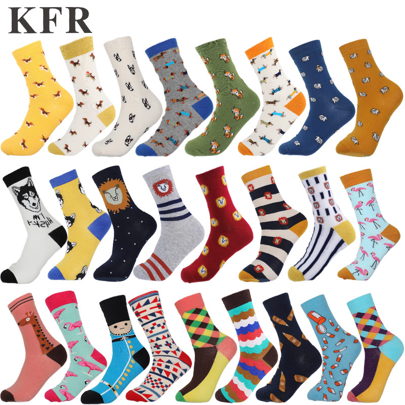 Happy sock funny man women ankle short Art crew cotton socks Colour casual harajuku pattern skate designer fashion socks summer