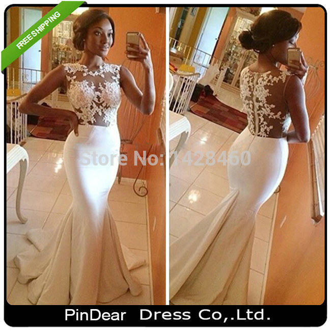 2015 Scoop Neck Elegant Appliques White Lace Long Prom Dress Mermaid Evening Gown vestido de festa long baile (PD-P003)