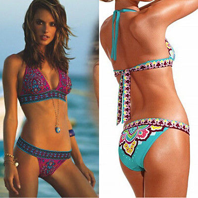 57ddca82ff5 2pcs Swim Set Sexy Women s Ethnic Style Print Bandage Belt Bikini Push-up  Padded Bra