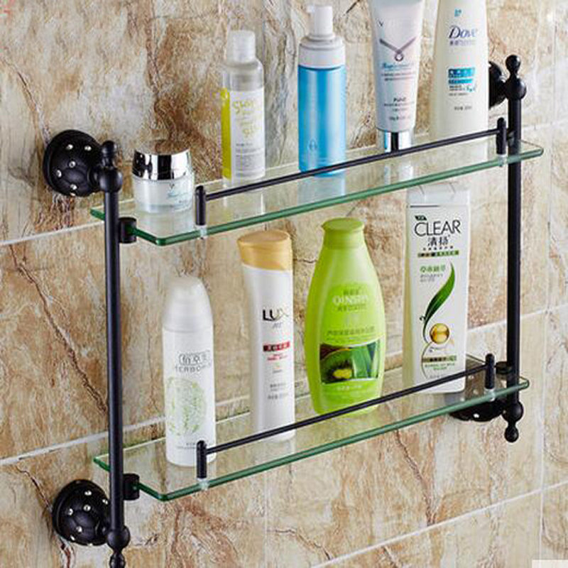 Wholesale And Retail Dual Glass Tiers Wall Mounted Oil Rubbed Bronze ...