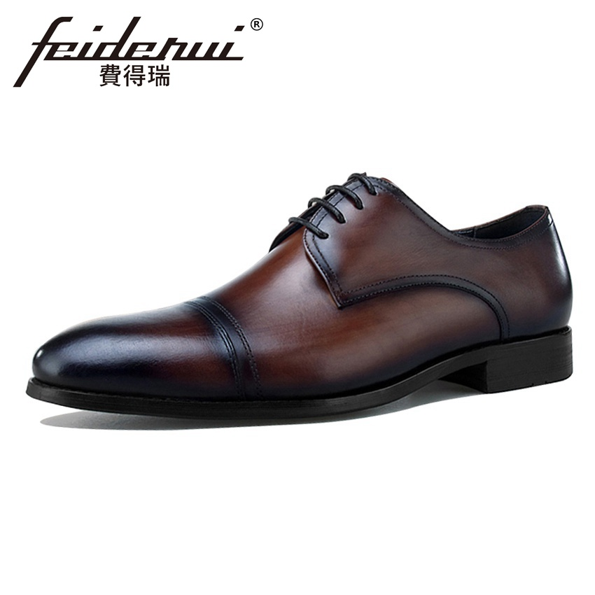 New Arrival Genuine Leather Men's Formal Dress Banquet Footwear Round Toe Lace-up Wedding Party Male Derby Shoes For Man BQL35 elanrom summer men formal derby wedding dress shoes cow genuine leather lace up round toe latex height increasing 30mm massage