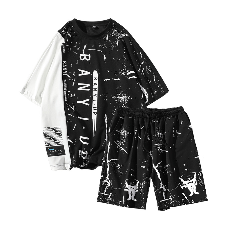 Rlyaeiz High Quality 2019 Summer Men Tracksuit Sets Casual Color Patchwork T Shirts + Shorts Sporting Suits Male Sporting Wear