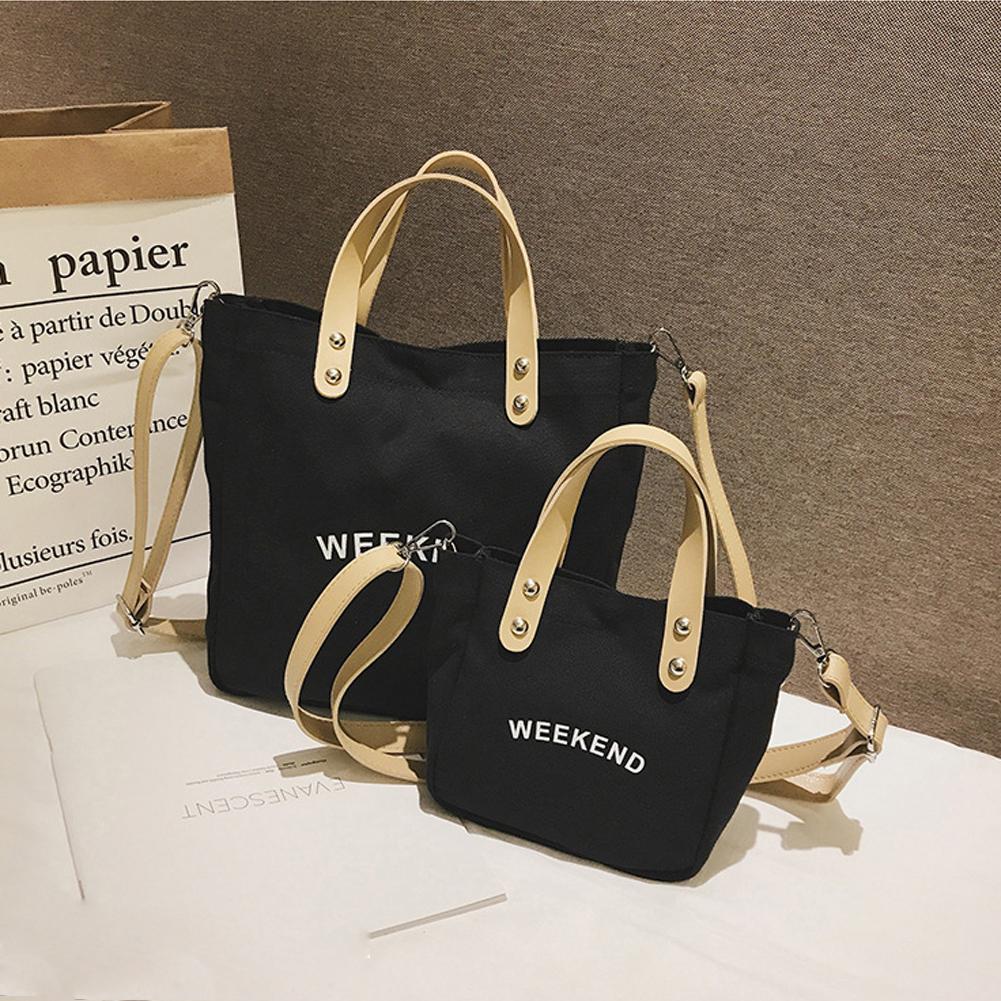 Leisure Canvas Letter Print Handbag Girls Women Large Capacity Shoulder Bag Tote Leisure Canvas Letter Print Handbag Girls Women Large Capacity Shoulder Bag Tote