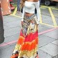 Venta caliente del verano faldas largas para mujer de gran swing Bohemia alta de la cintura mujeres de la falda maxi falda larga ropa de Tailandia nepal D28